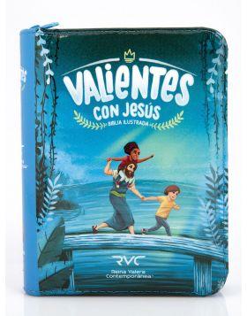 Biblia ilustrada Valientes con Jesús con cierre - azul RVC