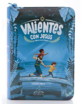 Biblia Valientes con Jesús con cierre - azul DHH