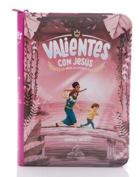 Biblia Valientes con Jesús con cierre - rosada DHH