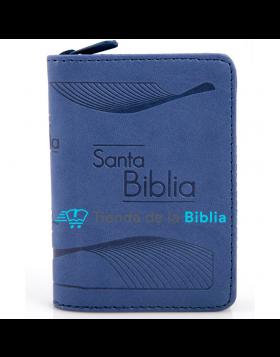Biblia mini bolsillo imitación piel con cierre - azul