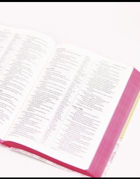 Biblia mini bolsillo imitación piel con cierre - rosada
