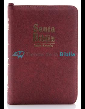Biblia línea de lujo Vinotinto, con cierre, acolchada - pequeña