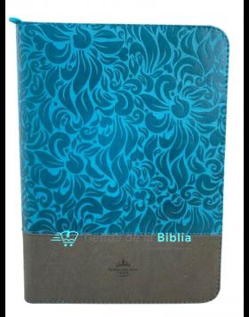Biblia Reina Valera 1960 - Letra gigante - Bicolor aguamarina y gris