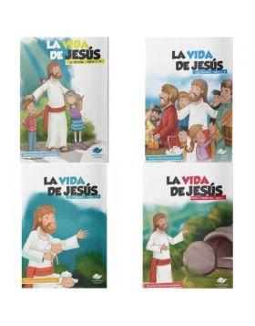 COLECCION  LA VIDA DE JESUS 4 CARTILLAS DILIGENCIAR, LEER Y COLOREAR
